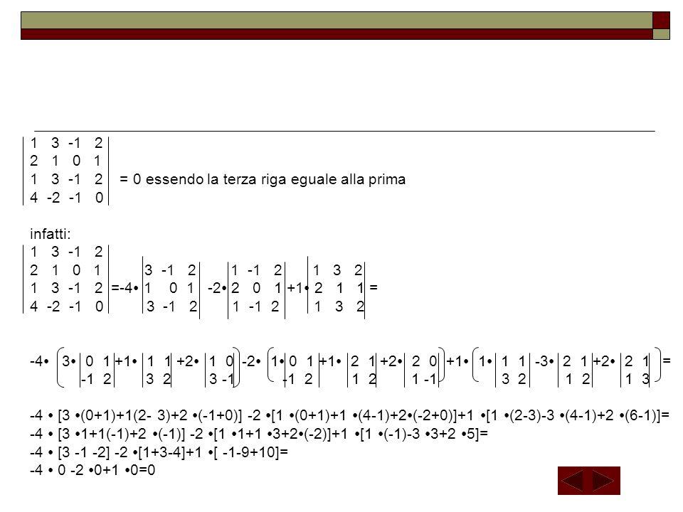 1 3 -1 2 2 1 0 1 1 3 -1 2 = 0 essendo la terza riga eguale alla prima 4 -2 -1 0 infatti: 1 3 -1 2 2 1 0 1 3 -1 2 1 -1 2 1 3 2 1 3 -1 2 =-4∙ 1 0 1 -2∙ 2 0 1 +1∙ 2 1 1 = 4 -2 -1 0 3 -1 2 1 -1 2 1 3 2 -4∙ 3∙ 0 1 +1∙ 1 1 +2∙ 1 0 -2∙ 1∙ 0 1 +1∙ 2 1 +2∙ 2 0 +1∙ 1∙ 1 1 -3∙ 2 1 +2∙ 2 1 = -1 2 3 2 3 -1 -1 2 1 2 1 -1 3 2 1 2 1 3 -4 ∙ [3 ∙(0+1)+1(2- 3)+2 ∙(-1+0)] -2 ∙[1 ∙(0+1)+1 ∙(4-1)+2∙(-2+0)]+1 ∙[1 ∙(2-3)-3 ∙(4-1)+2 ∙(6-1)]= -4 ∙ [3 ∙1+1(-1)+2 ∙(-1)] -2 ∙[1 ∙1+1 ∙3+2∙(-2)]+1 ∙[1 ∙(-1)-3 ∙3+2 ∙5]= -4 ∙ [3 -1 -2] -2 ∙[1+3-4]+1 ∙[ -1-9+10]= -4 ∙ 0 -2 ∙0+1 ∙0=0
